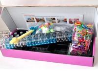 High-quality PC frame&Mini hook girls pink magic loom band kits cheap (600 loom bands+40 beads+24 clips+1 mini hook+1 PC frame)