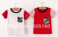Spell color short sleeve children t-shirt, zebra pocket cotton 1403 zyq 37201818130 c