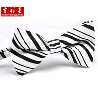 Quality male bow tie male double layer fashion male fashion bow tie black and white stripe w029