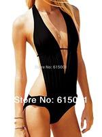 SkyMallHK Sexy Deep V-neck Bikini, Black Aesthetic  Swimsuit, Women's Swimwear  Free Shipping