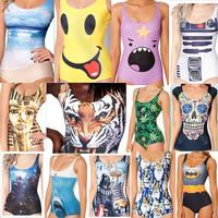 Sexy Print One Piece Swimsuit New 2014 Brand Swimwear Women Vintage Tiger Pattern Bathing Suit Push Up Backless Slim Beachwear