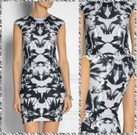 Free shipping 2014 new European style Shang Suya abstract ink printing temperament dress 407596