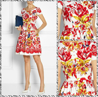 Free shipping 2014 European and American fashion models art department production process printing Slim Dress 400076