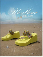 2014  Fashion Casual Womens Wedge Platform Flip Flops New Free shipping Thong Sandals Shoes Slipper  tx07US size 5-8