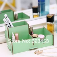 Free Shipping Korea office desktop wood DIY 3Cell Makeup Clean up Cosmetic box Pen Storage Box DIY Storage Boxes Organizers Gift