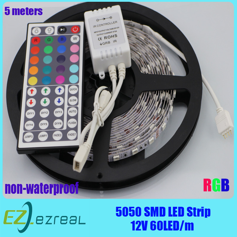 Hot! 5m with 44 keys Controller 300 LED 5050 RGB SMD 12V flexible light 60 led per meter,LED strip RGB,LED lighting Free ship!!!(China (Mainland))
