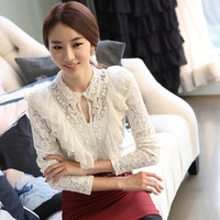 Spring 2014 Women's Turtleneck Lace Gauze Basic Shirt Long-Sleeve Slim Shirt White Top