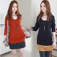 Spring 2014 Women's Long-Sleeve Slim Medium-Long Plus Size Clothing Basic Round Neck T-Shirt