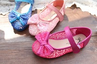 Free shipping 2014 chun xia fashionable girls princess shoes PU shoe lace transparent trichromatic single 26 to 30 yards