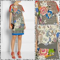 Free shipping 2014 new European and American women's round neck printing Slim waist was thin sleeveless dress sub 410886