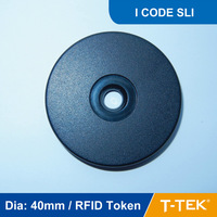 Dia: 40mm ABS RFID Token Tag, RFID Disc Tag, RFID Tag for patrol guard system, I CODE SLI Chip free shipping