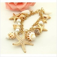 Min. order $10 (mix order) Summer beach jewelry retro starfish conch snail mixed multielement conch bracelet  for women