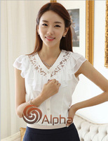 Free Shipping 2014 Summer New Arrival Korean V-neck Butterfly Design Short Sleeve Women Sweet Chiffon Shirt White Black S--XL