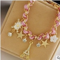 Min. order $10 (mix order) The Eiffel Tower, the stars flowers hearts poker leather cord bracelet with crystal