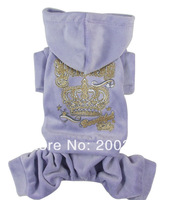 Retail  New Coming Purple Velvet  hoodied Pet Dog's coat  Free shipping  Clothing for Dog