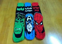 24pcs=12pair USA Fashion 3 Colors Captain America The Hulk spider-man Film Fans Plantlife Skateboarding Sport Socks 24pcs/lot