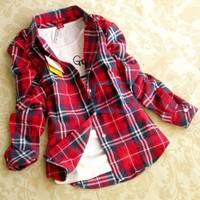 Hot Women Button Down Lapel Long Sleeve Shirt Plaids & Checks Flannel Shirts Tops Blouse