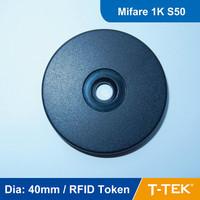 Dia: 40mm ABS RFID Token Tag, RFID Disc Tag, RFID Tag for patrol guard system, MF1 S50 Chip free shipping