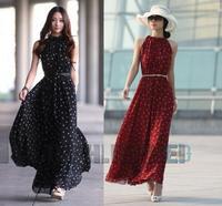 Dot Pattern Chiffon Sleeveless Loose Stand-up Neck Women Girl Lady Dress & Belt