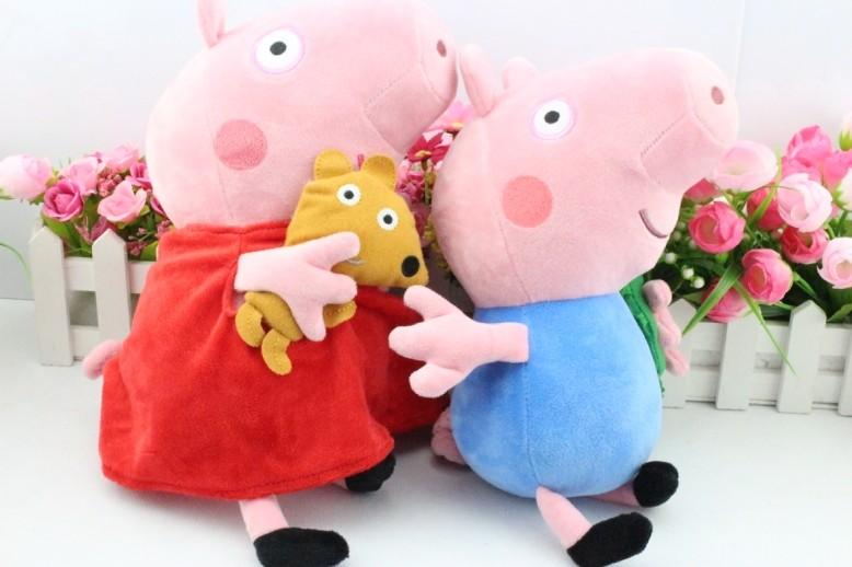 Grátis 2pcs envio / set 30CM 11inch Peppa porco de pelúcia Peppa Com Teddy & George Com Dinosaur Pig Plush Tamanho Grande(China (Mainland))