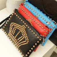 Free shipping 2014 Fashion Rivet Punk Bag crown pattern women's clutch purses vintage envelope bag messenger bags KN042