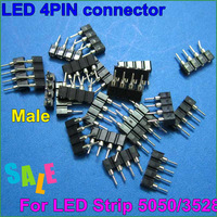 50pcs/lot LED 4pin RGB connector4pin needle male with female type4pin led diy part for LED RGB 3528 and 5050 strip free shipping