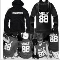 2014 New EXO XOXO wolf88 Men women Hoodies Cotton Hip Hop Sports Hoodie hooded sweater coat Couple Hoody Jacket Hood By Air