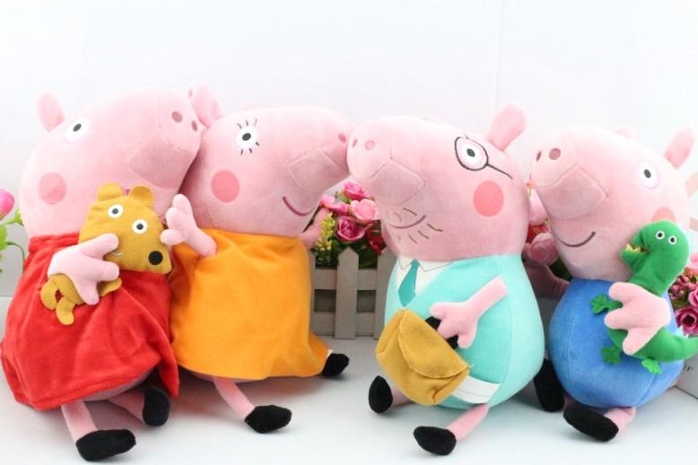 Grátis 4pcs envio / set 30CM 11inch Peppa porco de pelúcia Peppa Com Teddy & George Com Dinosaur Pig Mom Plush & Papai Tamanho Grande(China (Mainland))