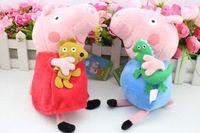 Free shipping 10PCS/set 9inch 23CM Peppa pig plush Peppa and George Peppa With Teddy& George With Dinosaur