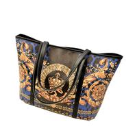 Free shipping 2014 European Style handbag retro casual all-match crown printing totes women's shopping bag big size KN043