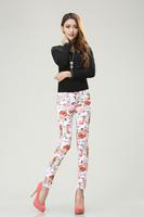 Free Shipping Casual Plus Size Print Slim Skinny Pencil Pants Women Pencil Pants Spring  Jeans Ladies Pants Women Trousers