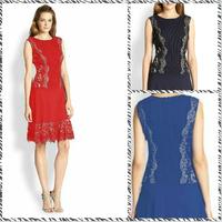 Free shipping 2014 Women Slim round neck embroidered lace sleeveless dress 13329