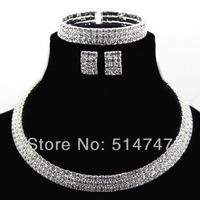 2014 New Austrian Crystal Bride 3pcs Set Necklace Bracelet Earring Wedding Jewelry Set Women JS149