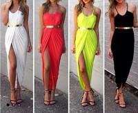 2014 Hot Fashion Sexy Nightclub Shoulder Side Hollow beach Bohemia Dress bandage Dress Halter dress Club Dress Free Shipping