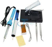 60W Electric Soldering Iron Solder Tool Kits 8 in 1+Iron Stand+ Desolder Pump+sponge+tweezers+rosin ferro de solda soldador