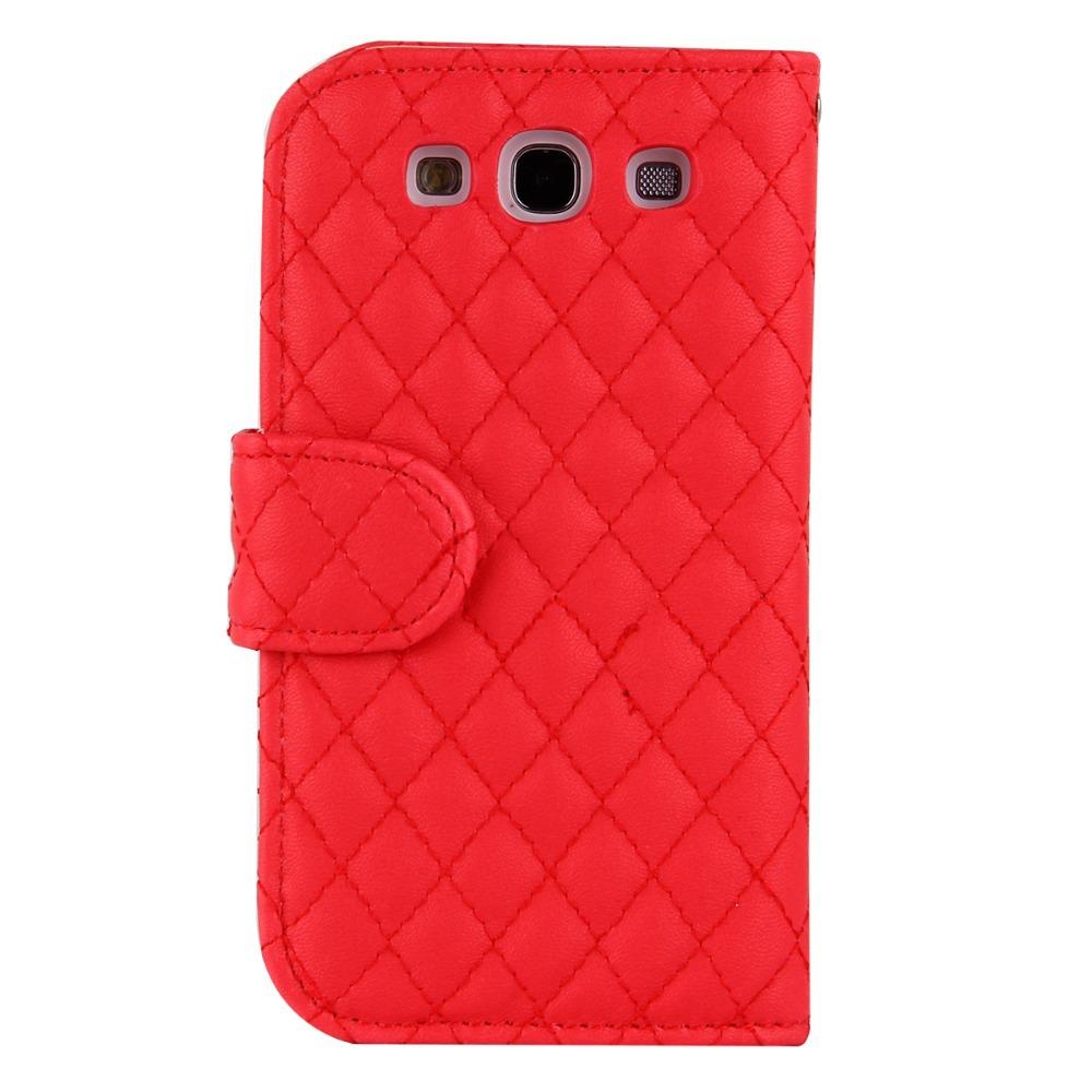 Lambskin PU Leather Diamond Pattern Folio Case Kickstand Girls Cover for Samsung Galaxy S III S3 I9300,Free Shipping(China (Mainland))