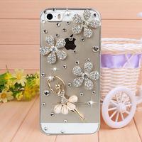 Handmade Crystal ballet girl Rhinestone Case Cover for iPhone 4 4s case for iPhone 5 5s case Mobile Border Protection