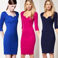 2014 New Fashion Spring Elegant Women Vintage V-Neck Knee Length Bodycon Pencil Dress High Quality Slim Brief Casual Dress S-XL