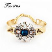 Fashion Gold Color Alloy Spike Rhinestone  Adjustable  New 2014 Spring  Designer Bracelets and Bangles  for Women