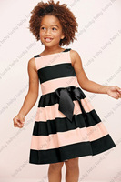 Retail -- New 2014 pink black striped big bow baby dress girls clothing casual dress sleeveless girl dress tcq 010  C-5
