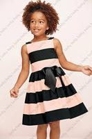 Retail -- New 2014 pink black striped big bow baby dress girls clothing casual dress sleeveless girl dress tcq 010  C-5