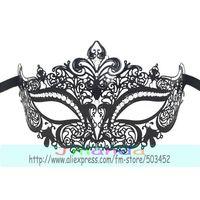 MJP-011B Wholesale Metal Mask Popular Carnival Halloween Mask Princess Masquerade Rhinestone Mask Black Color Mask,50pcs/lot
