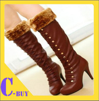 Free shipping over knee natrual real genuine leather high heel boots women snow winter warm shoes Cbuy R1132 EUR size 34-43