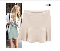 S28 2014 Summer Women OL Chiffon Skirt Ruffles Girls Short Saia Mint Black Beige color S M L XL Casual Skirts Free Shipping