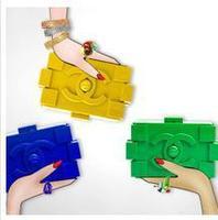 Blocks Plastic Clutch Evening Bag Celebrity Messenger Bag  Set Black-Gold Prom Fashion Shoulder Bag