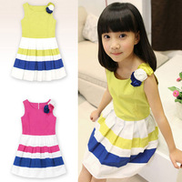 Retail --  New 2014 pink black striped big bow girl dress baby dress girls clothing casual dress sleeveless skirt tcq 010  C-6