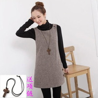 Autumn and winter women sleeveless pullover woolen vest dresses houndstooth a one-piece dress  free shipping