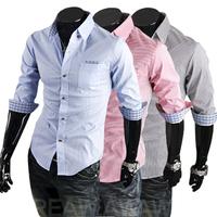 Free Shipping Men's Shirts,2014 short-sleeve shirt slim male half-sleeve shirt peaked collar summer men's clothing 9073