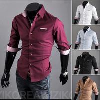 Free Shipping 2014 Mens Slim fit stylish Dress Half-Sleeve Shirts Mens dress shirts 9067