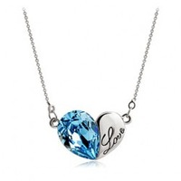 free shipping 2014 new heart love half gold metal half crystal pendant necklace necklace chain women accessories